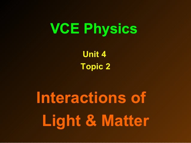 VCE Physics Unit 4 Topic 2 Interactions of Light & Matter