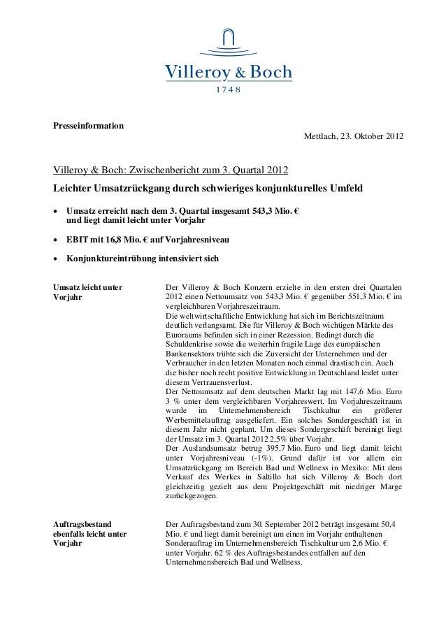 Presseinformation                                                                    Mettlach, 23. Oktober 2012Villeroy & ...