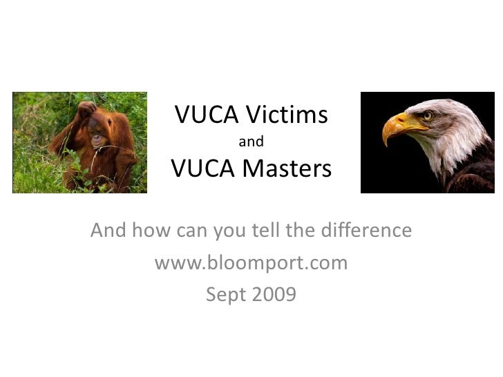 VUCA VictimsandVUCA Masters<br />…and how you can tell the difference<br />S. Grubb - Sept 2009<br />www.bloomport.com<br />