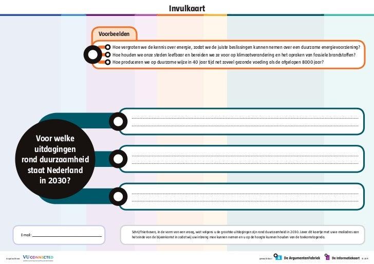 VU Connected Duurzaam in 2030 - invulkaart