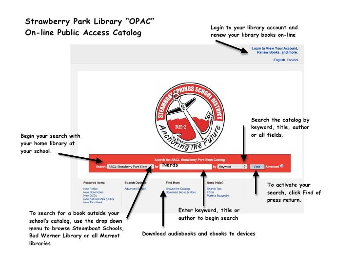 """Strawberry Park Library """"OPAC""""                                                                                Login to you..."""