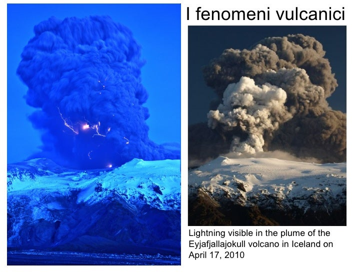 Lightning visible in the plume of the  Eyjafjallajokull volcano in Iceland on  April 17, 2010  I fenomeni vulcanici