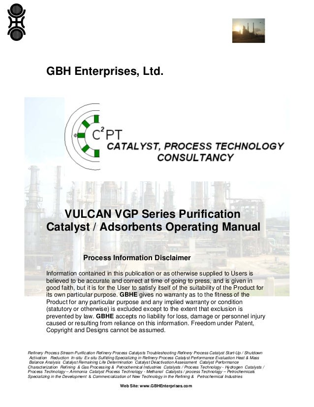 VULCAN VGP Series Purification Catalyst / Absorbents Operating Manual