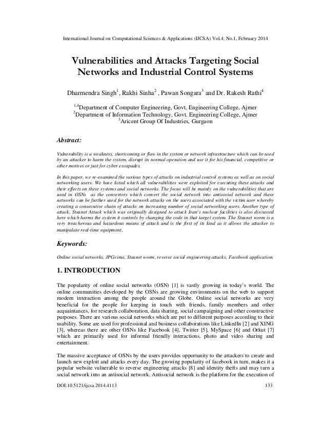 Vulnerabilities and attacks targeting social networks and industrial control systems