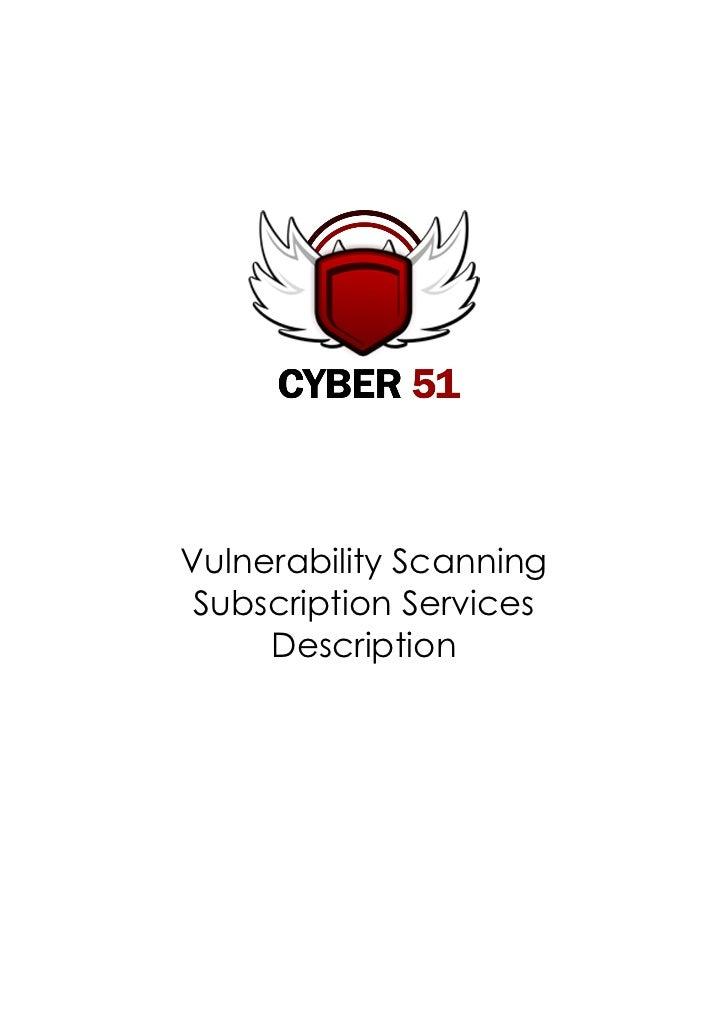Vulnerability Scanning Subscription Services     Description