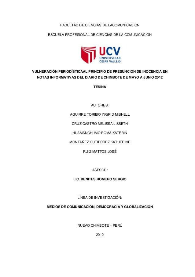 FACULTAD DE CIENCIAS DE LACOMUNICACIÓN ESCUELA PROFESIONAL DE CIENCIAS DE LA COMUNICACIÓN VULNERACIÓN PERIODÍSTICAAL PRINC...
