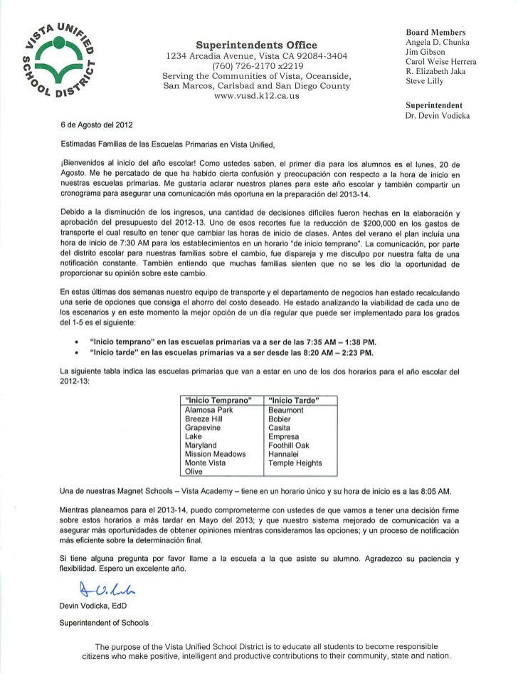 VUSD Start Time Letter Spanish
