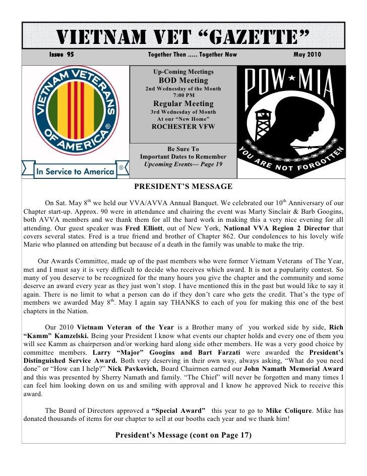 Vva chapter 862 may 2010 newsletter