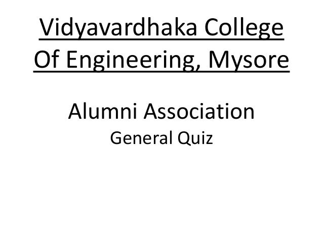 VVCE Mysore Alumni Meet General Quiz