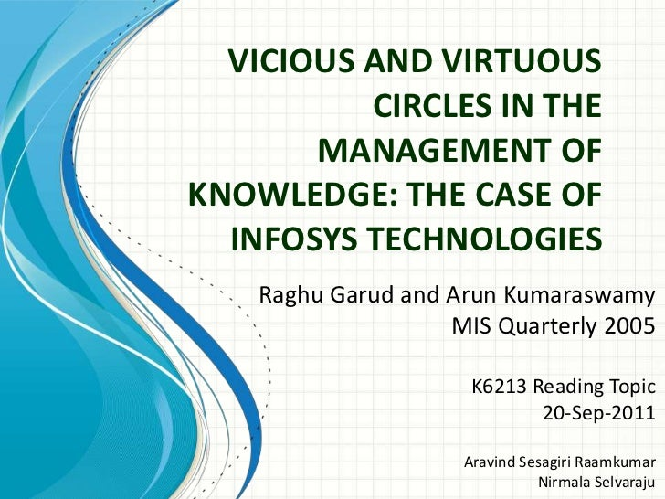 VICIOUS AND VIRTUOUS          CIRCLES IN THE       MANAGEMENT OFKNOWLEDGE: THE CASE OF  INFOSYS TECHNOLOGIES    Raghu Garu...