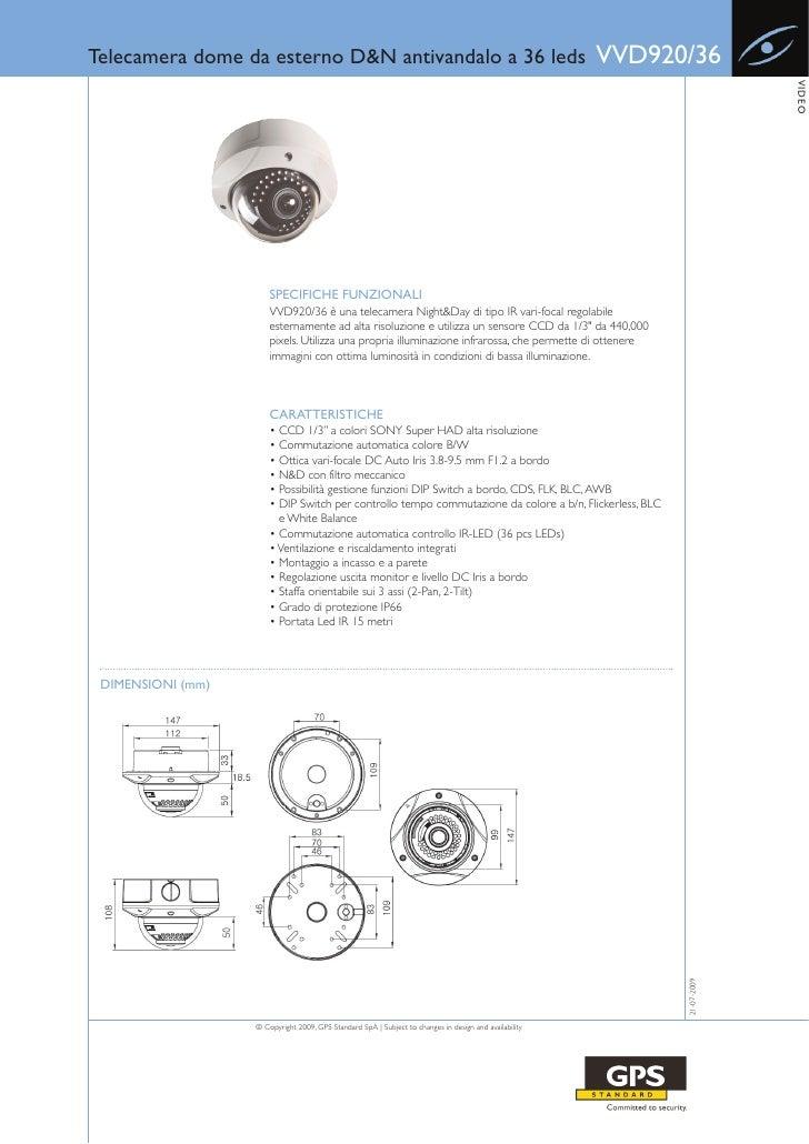 Telecamera dome da esterno D&N antivandalo a 36 leds                                                    VVD920/36         ...