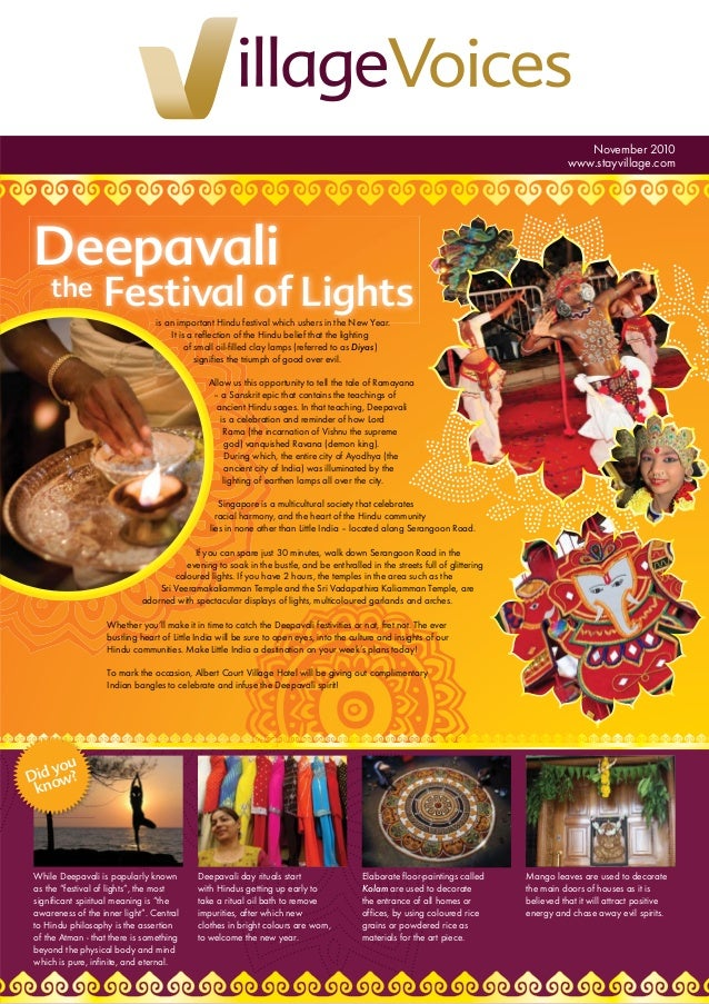 """Deepavali the Festival of Lights November 2010 www.stayvillage.com While Deepavali is popularly known as the """"festival of ..."""