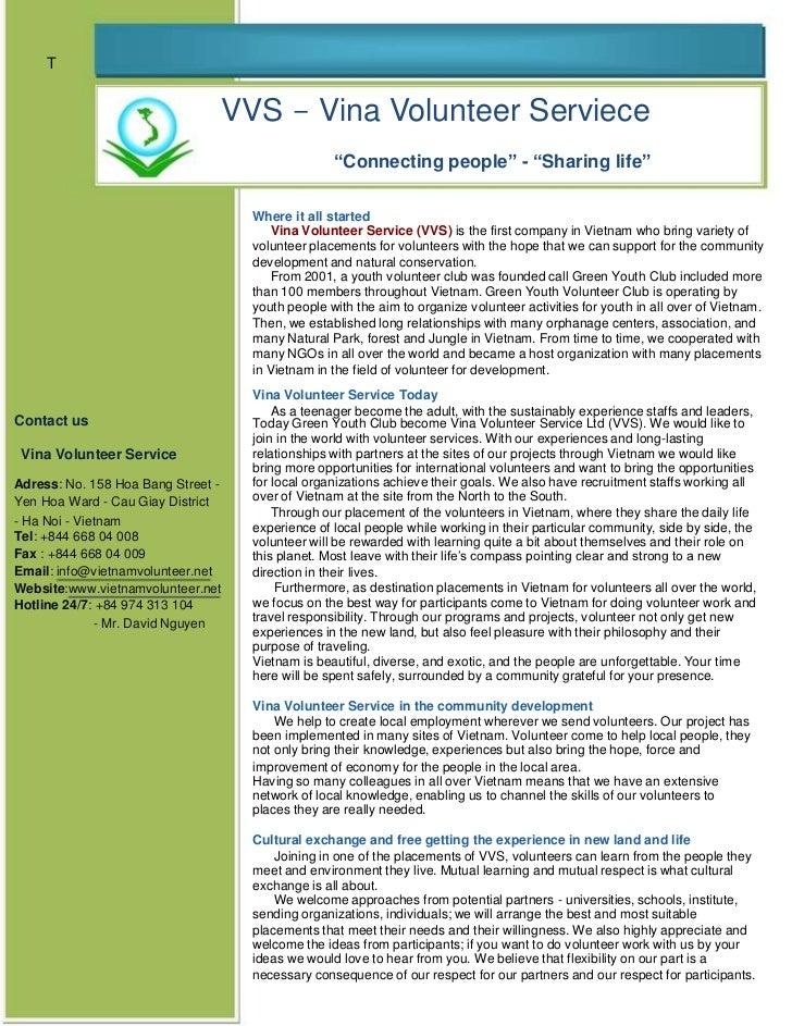 Vina Volunteer Service Broucher