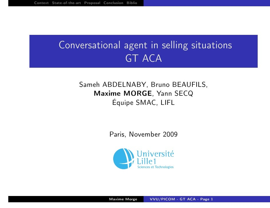 Context State-of-the-art Proposal Conclusion Biblio                 Conversational agent in selling situations            ...