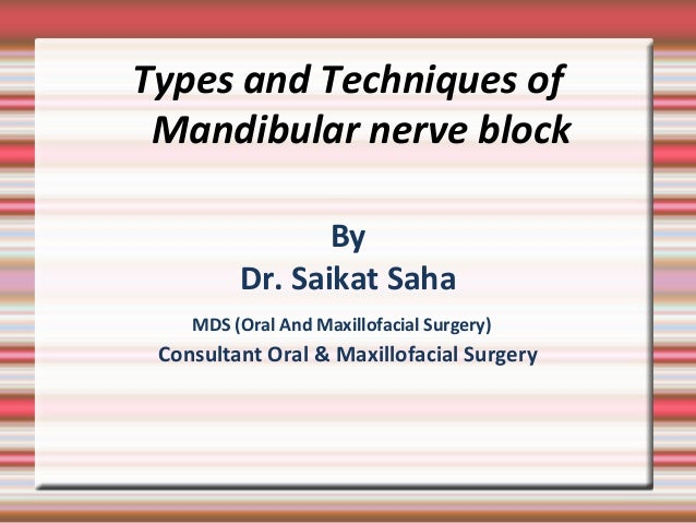 Types and Techniques of Mandibular nerve block By Dr. Saikat Saha MDS (Oral And Maxillofacial Surgery) Consultant Oral & M...