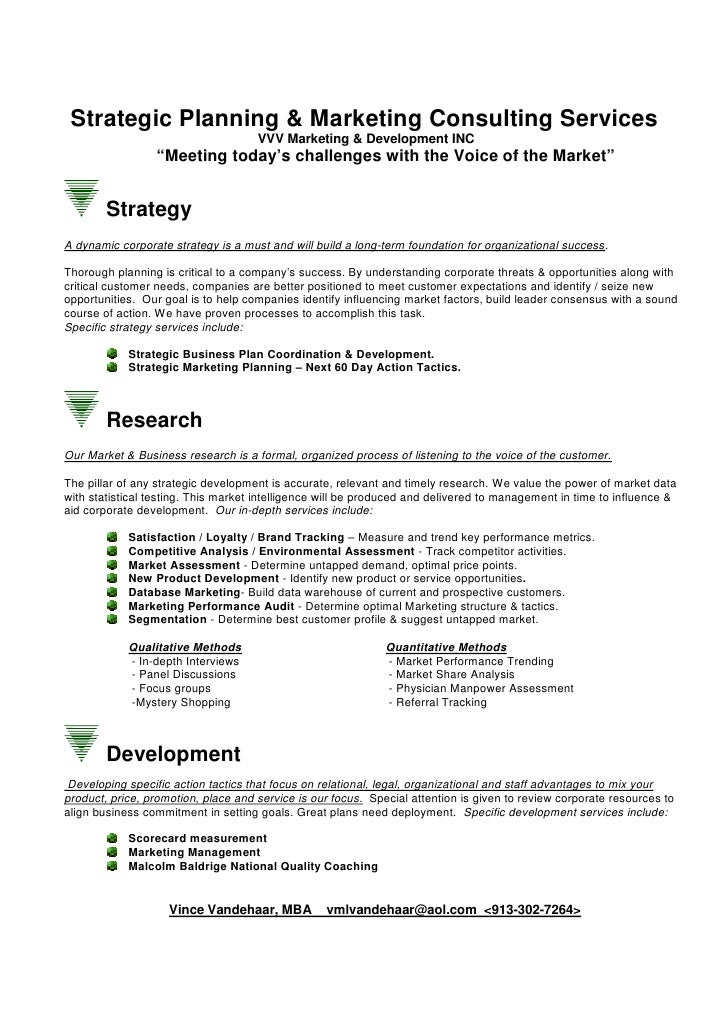 Strategic Planning & Marketing Consulting Services                                      VVV Marketing & Development INC   ...
