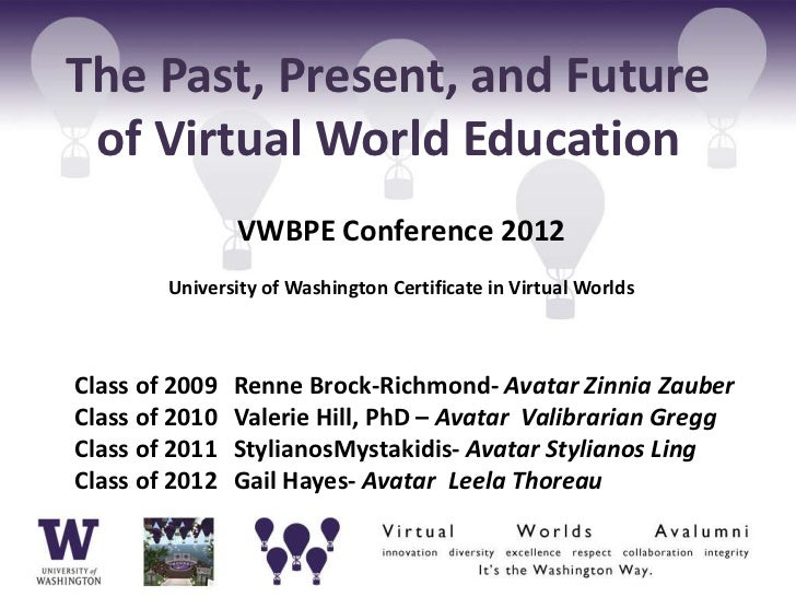 The Past, Present, and Future of Virtual World Education                VWBPE Conference 2012        University of Washing...