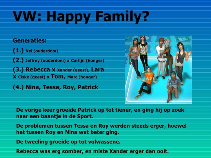 VW: Happy Family? Generaties: (1.)  Nel (ouderdom) (2.)  Jeffrey (ouderdom) x   Carlijn (honger) (3.) Rebecca x  Xander (g...