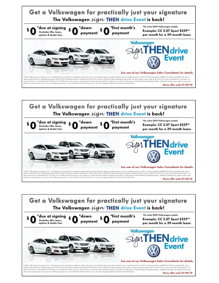 Vw Sign Then Drive Coupon