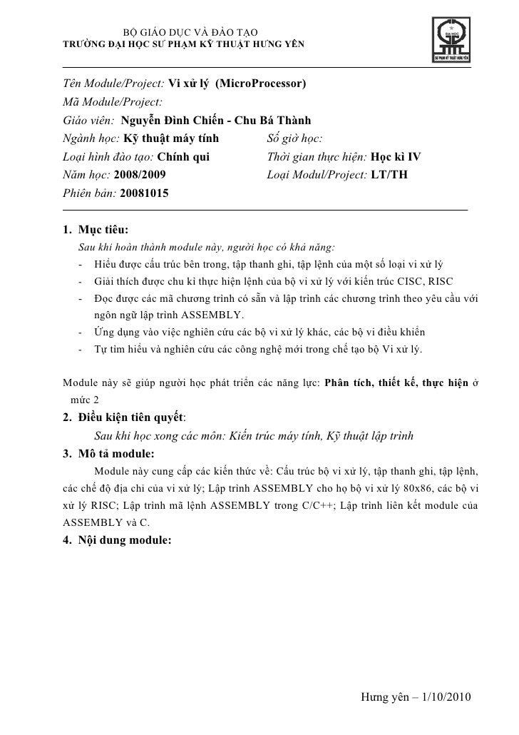 BỘ GIÁO DỤC VÀ ĐÀO TẠO TRƯỜNG ĐẠI HỌC SƯ PHẠM KỸ THUẬT HƯNG YÊN    Tên Module/Project: Vi xử lý (MicroProcessor) Mã Module...