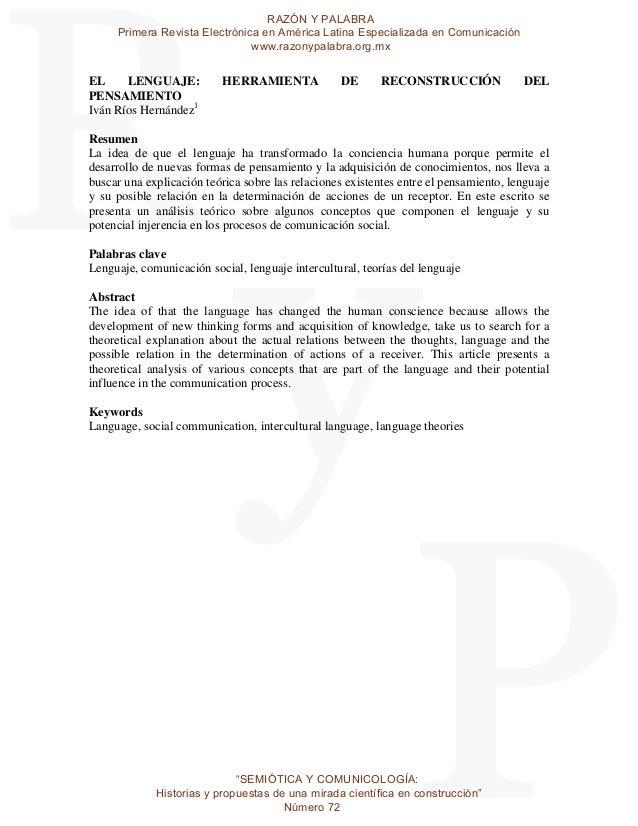 RAZÓN Y PALABRA Primera Revista Electrónica en América Latina Especializada en Comunicación www.razonypalabra.org.mx  EL L...