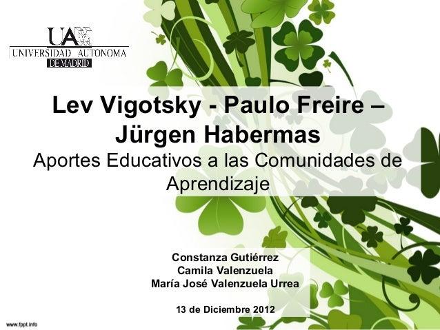 Lev Vigotsky - Paulo Freire – Jürgen Habermas Aportes Educativos a las Comunidades de Aprendizaje  Constanza Gutiérrez Cam...