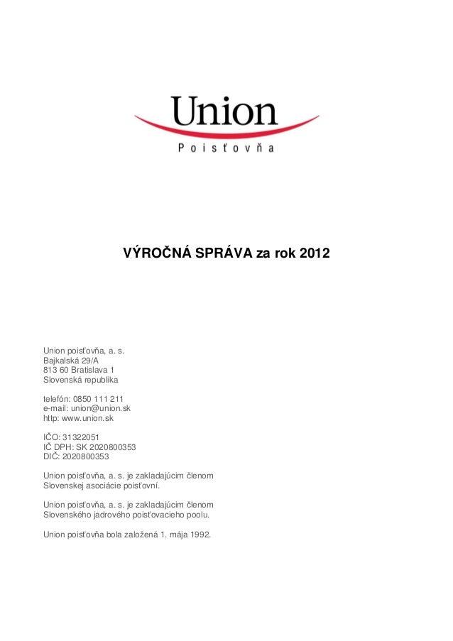Výročná správa Union 2012