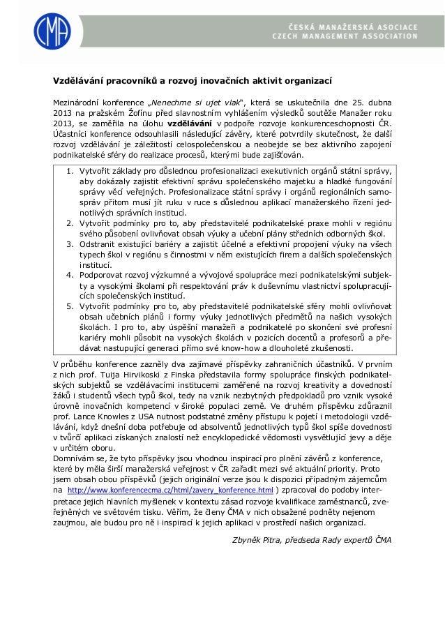 Vzdělávání pracovníků a rozvoj inovačních aktivit organizací