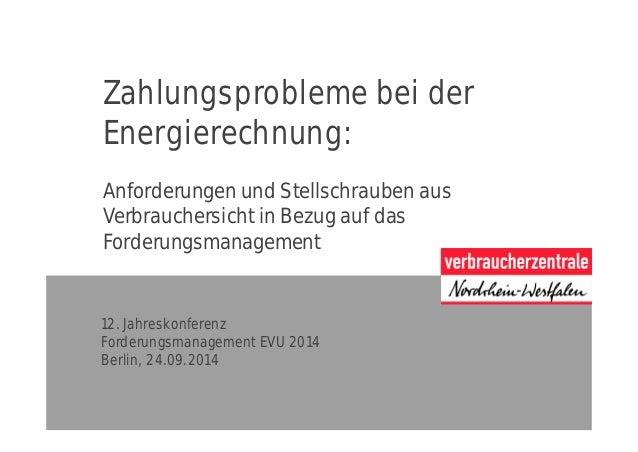 Zahlungsprobleme bei der Energierechnung: Anforderungen und Stellschrauben aus Verbrauchersicht in Bezug auf das Forderung...