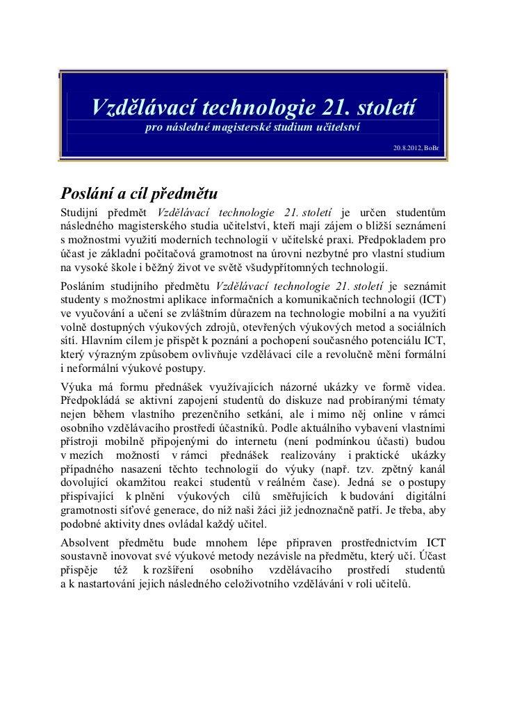 Vzdělávací technologie 21. století - sylabus