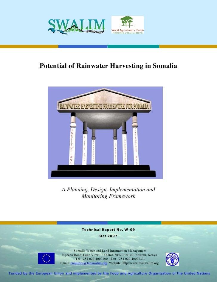 Somalia;  Potential of Rainwater Harvesting in Somalia