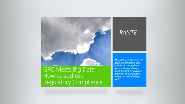Gov & Private Sector Regulatory Compliance: Using Hadoop to Address Requirements