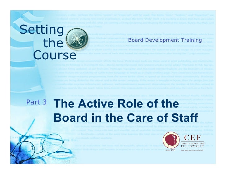 Setting     the               Board Development Training     Course            The Active Role of the Part 3           Boa...