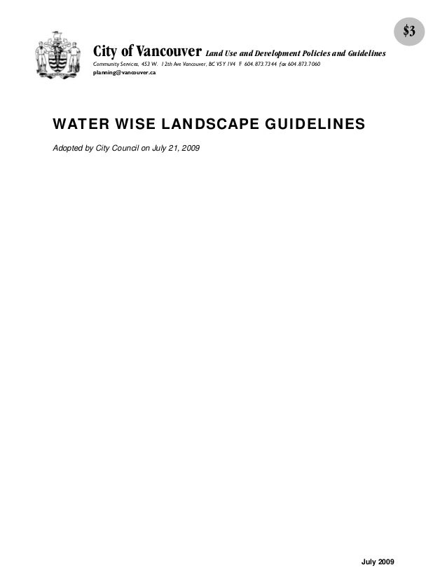 Water Wise Landscape Guidelines - Vancouver, Canada