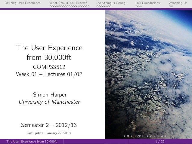 UX from 30,000ft (COMP33512 - Lecture 1 & 2 - 2012/2013)