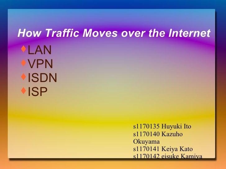 How Traffic Moves over the Internet s1170135 Huyuki Ito s1170140 Kazuho Okuyama s1170141 Keiya Kato s1170142 eisuke Kamiya...