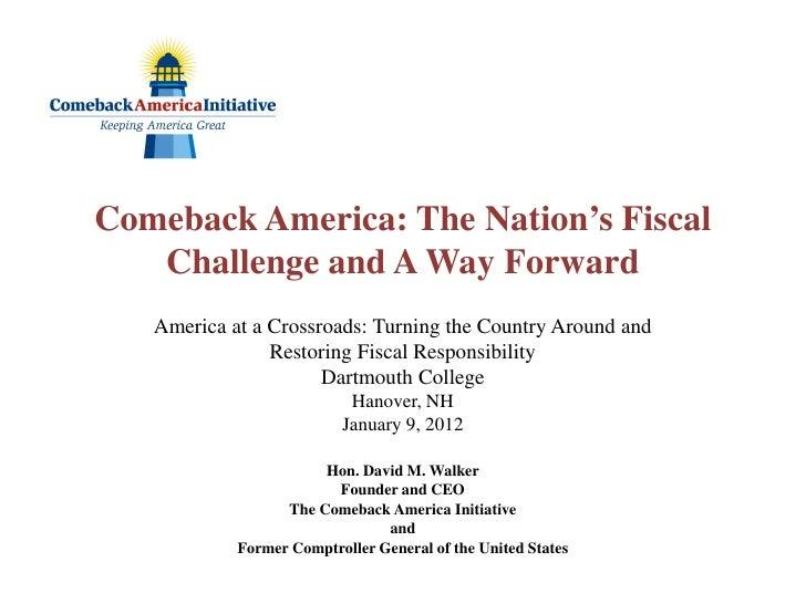 "David Walker: ""America at a Crossroads"" Lecture 1/9/12"