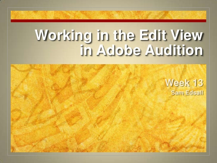 Working in the Edit View in Adobe Audition<br />Week 13<br />Sam Edsall<br />