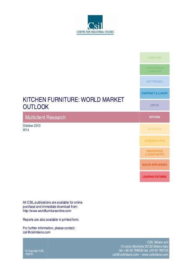 Kitchen furniture: World market outlook - Market Research report by CSIL