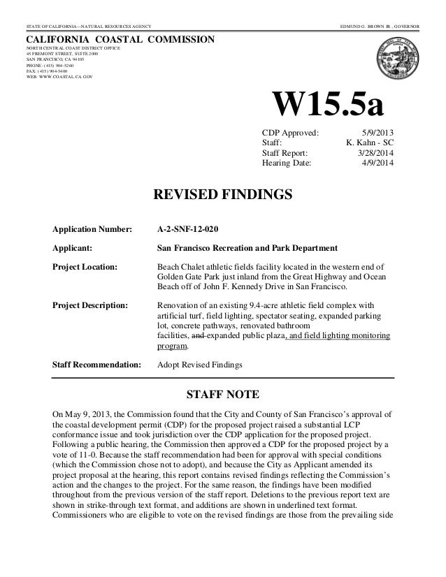 California Coastal Commission revised staff report - Beach Chalet fields
