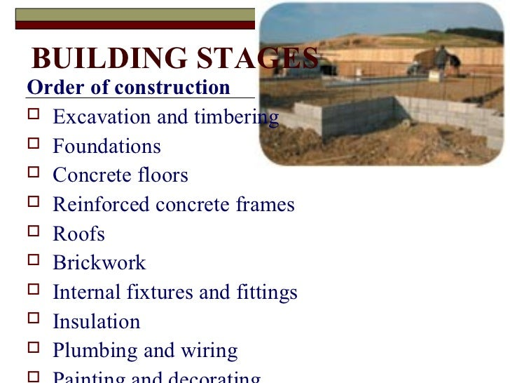stages of a building construction Knowing these eight phases of the new home construction process helps in working with your custom home final stage during this construction phase, finishing touches are added building and quality assurance inspections are scheduled and completed to ensure all of the finishing.