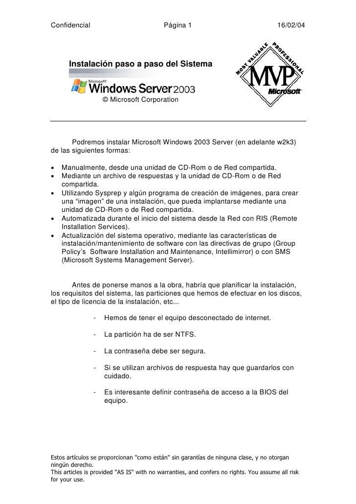 Instalación paso a paso de Windows Server 2003