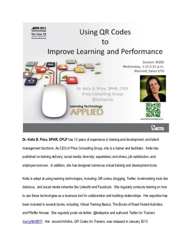 W202 supplemental materials using qr codes to improve learning and performance