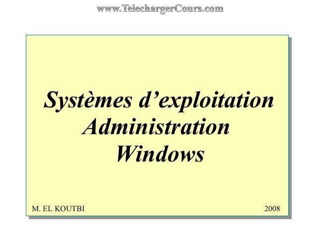 Systèmes d'exploitation Administration Windows M. EL KOUTBI 2008