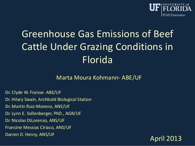 Greenhouse Gas Emissions of BeefCattle Under Grazing Conditions inFloridaMarta Moura Kohmann- ABE/UFDr. Clyde W. Fraisse- ...