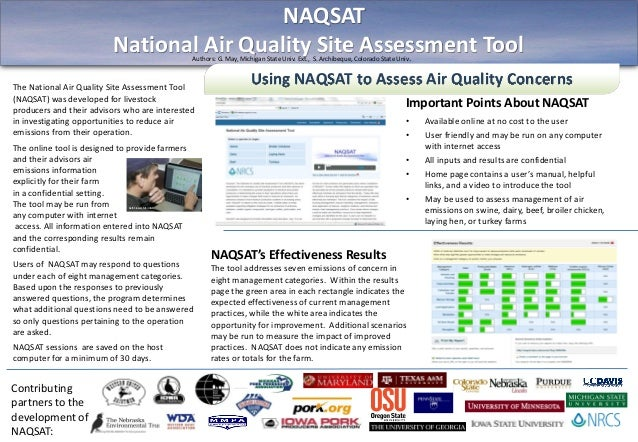 Using NAQSAT to Assess Air Quality ConcernsImportant Points About NAQSAT• Available online at no cost to the user• User fr...