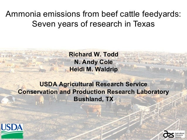 Ammonia emissions from beef cattle feedyards:Seven years of research in TexasRichard W. ToddN. Andy ColeHeidi M. WaldripUS...