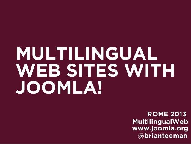 Joomla 3 - The Multilingual Web