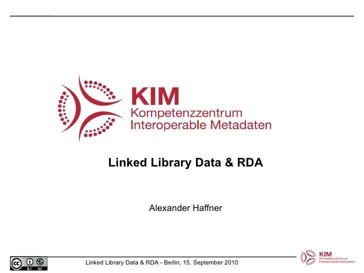 Linked Library Data & RDA