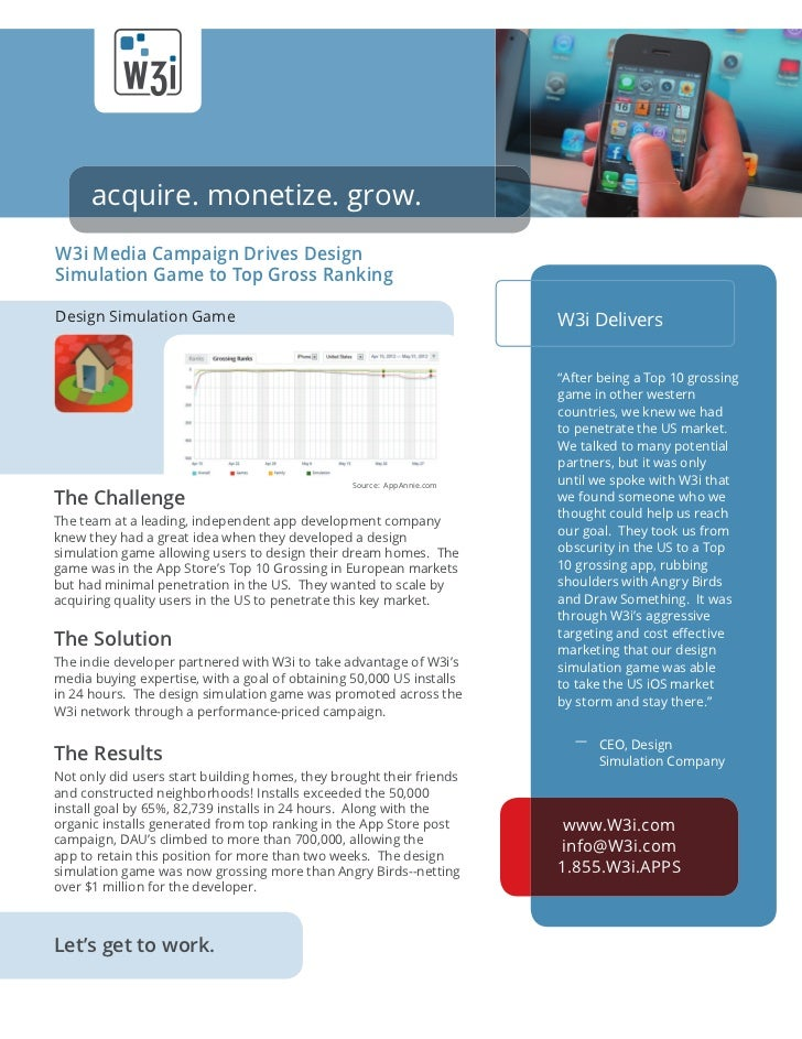 acquire. monetize. grow.W3i Media Campaign Drives DesignSimulation Game to Top Gross RankingDesign Simulation Game        ...